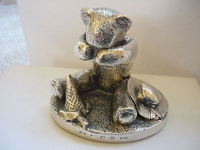 Stunning Large Hallmarked Sterling Silver Crying Teddy With Toys Statue