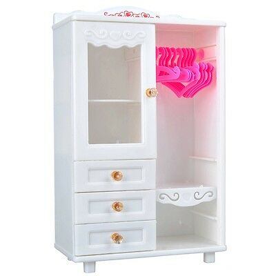 E-TING Dollhouse Furniture Wardrobe Closet for Barbie Doll Clothes Accessories A