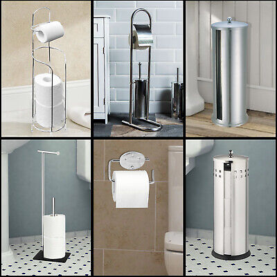 Toilet Paper Rolls &brush Holder Free Standing Chrome Bathroom Storage Organizer