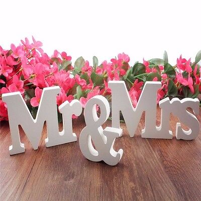 Mr and Mrs Sign Letters White Wooden Standing Wedding Table Decoration
