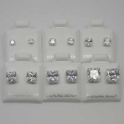 925 Sterling Silver Clear Square Cubic Zirconia CZ Diamante Stud Earrings 3-8mm