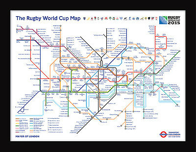 Rugby World Cup 2015 Transport For London Framed Tube Map 60 x 80cm Art Print