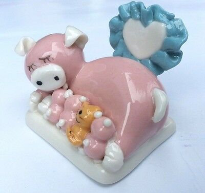 Miniature Ceramic Pigs Family Cute Collectible Kawaii Kitten Love handmade