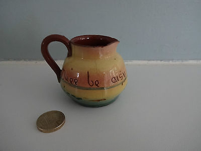 """Vintage Motto Ware Torquay/Devon Pottery -small jug """"Duee be aisy"""" approx 2.5"""" t"""