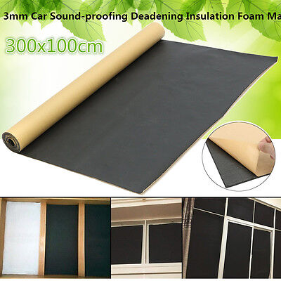 10x3FT Roll 3mm Car Sound-proofing Deadening Insulation Foam Mat Acoustic Panel
