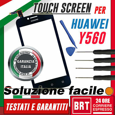 Touch Screen Originale Huawei Ascend Y560 L01 Display Vetro Nero Digitizer +Kit