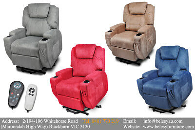 2 Motor Recliner Electric Lift Senior Disabled Chair Heat Massage Suede Fabric