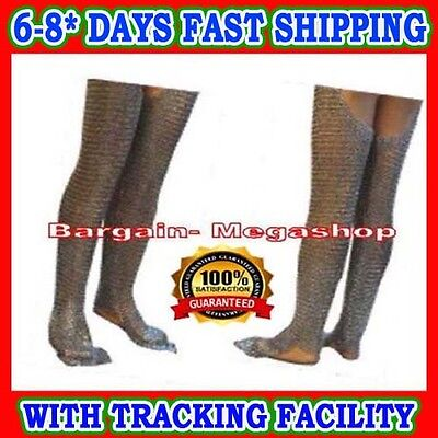 Chain mail Leg Flat Rivet with Flat Washer Legging Medieval Chainmail Legs
