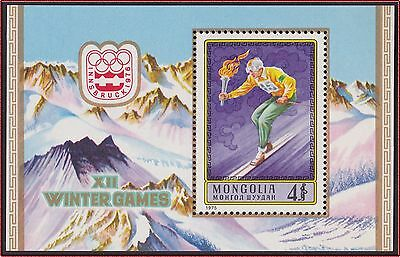 MONGOLIE BLOC N°41** Bf Jeux Olympiques, ski, TB 1975 MONGOLIA Olympic SHEET NH