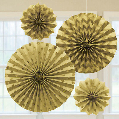 4 x Gold Paper Fans Hanging Party Decorations Glitter Finish 50th Anniversary