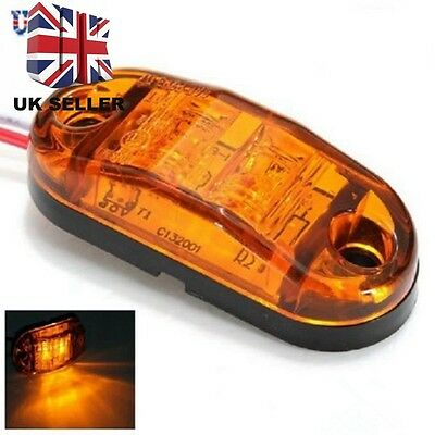 4 X Amber Orange 12V 2 Led Side Marker Indicators Lights Truck Trailer E-Marked