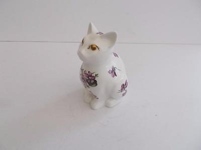 "Hammersley ""Victorian Violets"" English Bone China Cat Ornament"