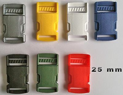 25mm Quick Side Release Buckles Plastic Fasteners For Webbing Straps Pack of 2