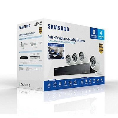 Samsung SDH-B74041 8 Channel Full HD 1080P 4 Camera CCTV Security System 1TB NEW