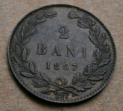 Romania 2 Bani 1867 Watt Mint State Superb Carol I RARE