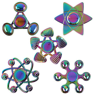 New Hand Finger Spinner Tri Bearing EDC Fidget ADHD Stress Relief Focus Rainbow~