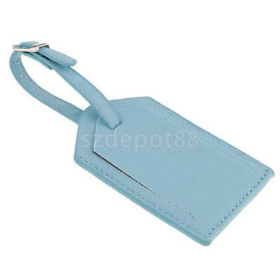 1pc Blue Leather Luggage Tags Travel Bag Tags Name Address ID Label Card
