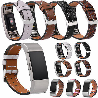 Genuine Leather Wristband Band Strap Metal Buckle Bracelet For Fitbit charge 2