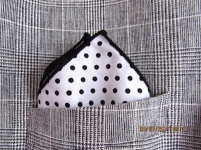 polka dot  pocket square handkerchief  white and black. cotton. unisex
