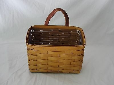 Longaberger 2005 Small Hanging Basket Leather Strap Wall Protector