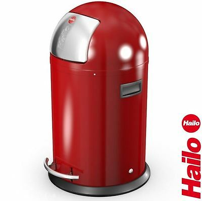 Hailo KickMaxx 35 Litre Home Kitchen Modern Waste Pedal/Push Bin - Red