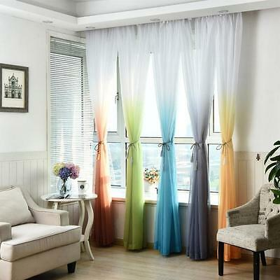 Valances Tulle Voile Door Window Curtain Drape Panel Sheer Scarf Divider Deco