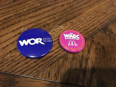 Vintage pins! 2 NEW YORK RADIO buttons from 1940s/50s/60s/70s WABC WOR McDonalds