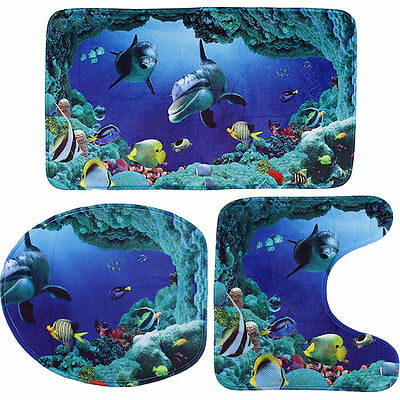 3x Ocean Dolphin Bathroom Lid Toilet Seat Cover Pedestal Rug Bath Mat Carpet Set