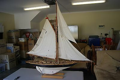 Handcrafted Wooden Boat Timber Sailing Vessel Antique Pond Boat