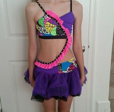 Sassy Funky party jazz tap dance costume child large purple
