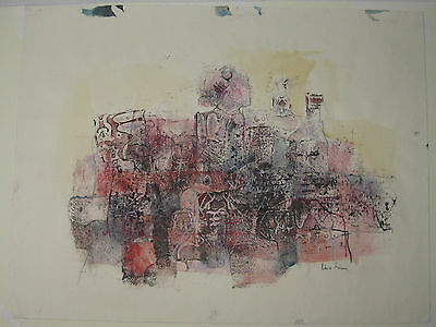Vintage ROBERT GRIEVE ABSTRACT EXPRESSIONISM Mixed Media Monotype Painting