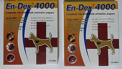 2 Boxes EN-DEX 4000 Remove Prevent Ticks and Fleas for Cats and Dogs