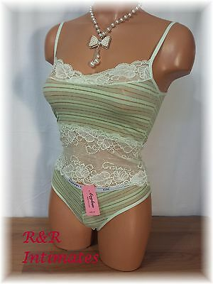 Cute and Comfy Mint Green Stretch Metallic Lace Camisole Set, Size M
