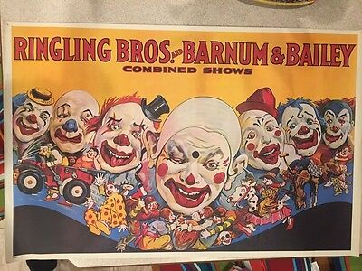 Circus Poster Ringling Bros Barnum and Bailey  Clowns