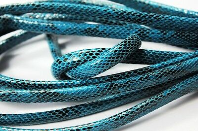 Half Yard 10mmx6mm Snake Skin Pattern Licorice Leather, Bangle Bracelet Cords