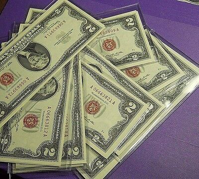 1963 $2 2 Consecutive Two Dollar Bill Red Seal US Note Sequential CH CU NOTES