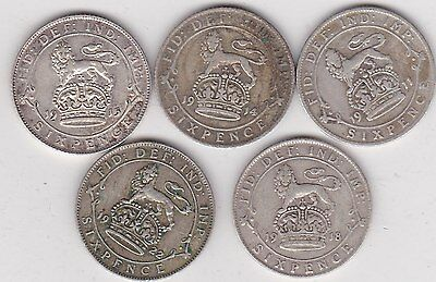 Five Silver Sixpences Dated 1911/1914/1915/1918 & 1922 In Fair To Fine Condition