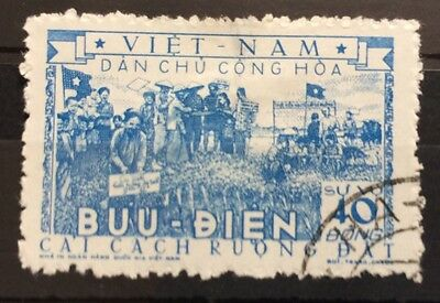 1955 Vietnam  40d Blue Land Reform Used (2)