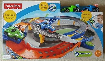 Fisher Price Shake n Go Spinout Alley Speedway  Multi-level Track with Drop Zone