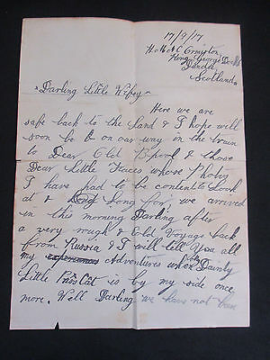 WWI Love Letter Deployed Husband to Wife in Scotland Dated 17/09/17