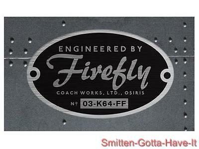 Serenity FIREFLY Exact Prop REPLICA Metalized Builder's Plaque STICKER Bumper !!