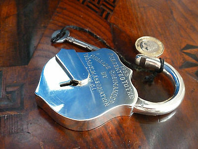 Rare full sized working Sterling silver padlock brigade commander MHOW C.I 1935