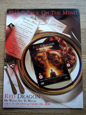 RED DRAGON - HANNIBAL LECTER - ORIGINAL magazine DVD advert poster 2003