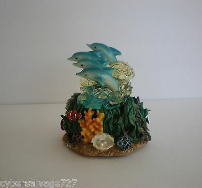 Four Painted Dolphins On Waves Set On A Reef Base Lighted Statue Nautical Decor