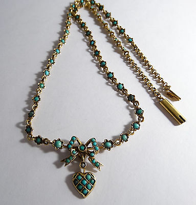 Necklace Victorian, natural turquoise, sterling silver 800, gilding.
