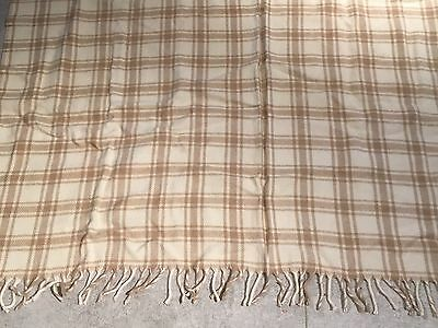 Faribault Woolen Mill Company Brown Plaid Wool Throw Blanket Faribo
