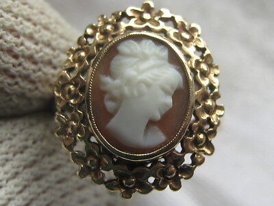 Vintage 9Ct Yellow Gold Cameo Ring  Size  L