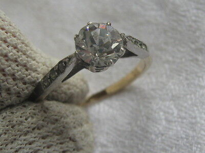 Vintage Gold & Silver Solitaire Ring With Accent Stone Set Shoulders