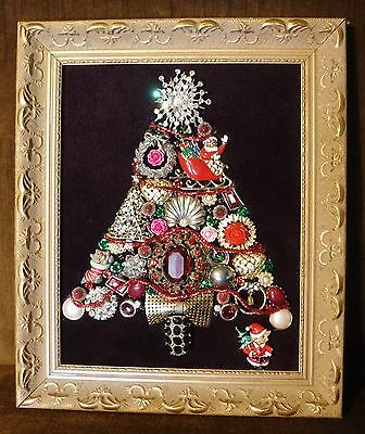 Jewelry Art  Christmas Tree, signed by Artist, Full of Sparkle