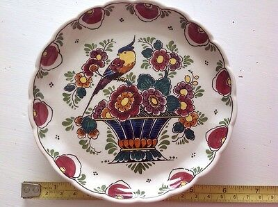 """Vintage Polychrome Hand Painted Holland - Signed Plate/dish 6"""""""